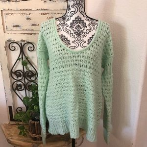 Free people low neck mint sweater